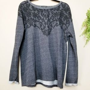 Lane Bryant | Gray and Black Brocade Sweatshirt